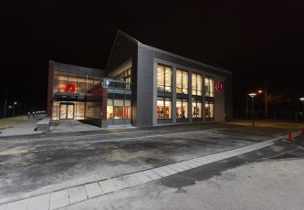Durden Athletic Training Center Night time Exterior Pic